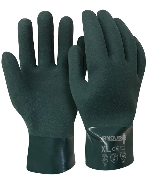 Armour Safety Products Ltd. - Green PVC Grip Coat Chemical Gauntlet Glove - 27cm