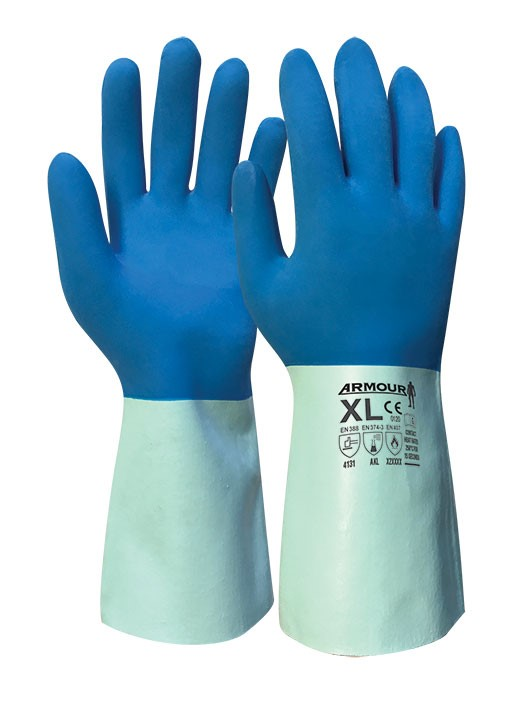 Armour Safety Products Ltd. - Blue Latex Chemical Heat Resistant Gauntlet - 30cm