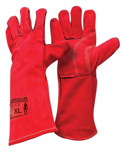 Armour Safety Products Ltd. - Armour® Leather Red Welding Gauntlet Glove - 40cm
