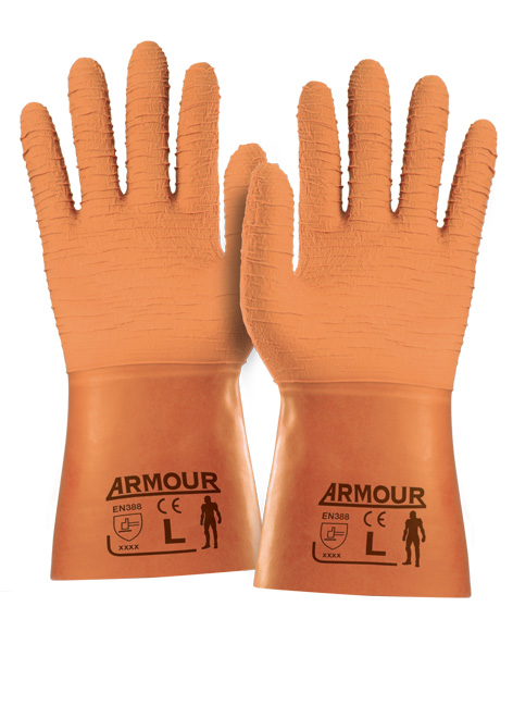 Armour Safety Products Ltd. - Orange Crinkle Latex Gauntlet - 30cm