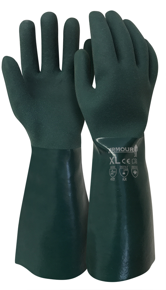 Armour Safety Products Ltd. - Green PVC Grip Coat Chemical Gauntlet Glove - 40cm