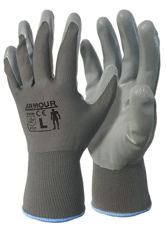 Armour Safety Products Ltd. - Grey Nitrile Open Back Glove